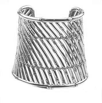 144076 JOHN HARDY Bamboo Silver Wide Sticks Cuff Size M