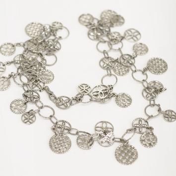 141066 JOHN HARDY Kawung Silver Circle Charm Sautoir Necklace Size 36
