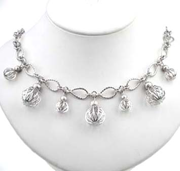 144261 JOHN HARDY Langit Silver Ball Charm Necklace with Diamond Pave Size 18