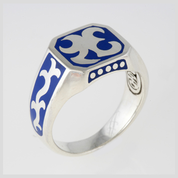 142494 JOHN HARDY Men's Dayak Silver Blue Enamel Octagonal Ring Size 10